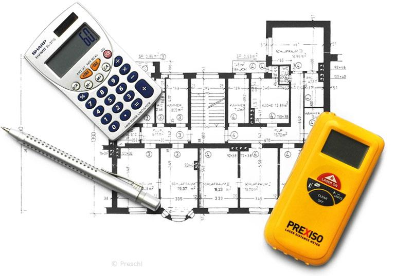 Wohnflächen messen und berechnen